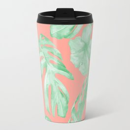 Tropical Palm Leaves Hibiscus Flowers Coral Green Travel Mug