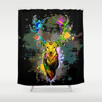 popart Shower Curtains featuring Deer PopArt Dripping Paint by BluedarkArt