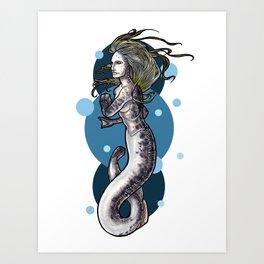 Sea Lamprey Mermaid Art Print