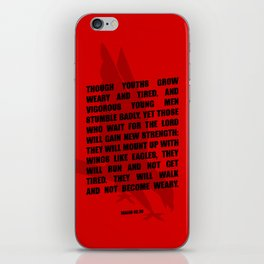 Typography Motivational Christian Bible Verses Poster - Isaiah 40:30 iPhone Skin