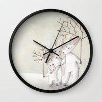 bunnies Wall Clocks featuring Bunnies by Arianna Usai