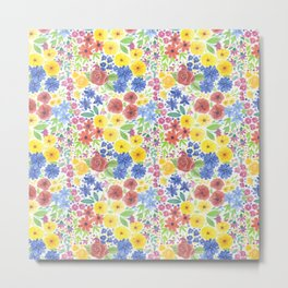 Floral watercolor pattern white Metal Print