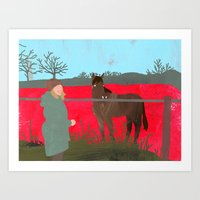 Horse and a woman Art Print
