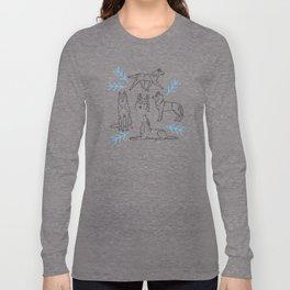 Siberian Husky Pattern (Light Gray) Long Sleeve T-shirt