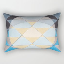 Triangle Pattern No. 14 Circles in Black, Blue and Yellow Rectangular Pillow