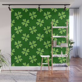 St. Patrick Day Clover 1 - Green Pattern Wall Mural
