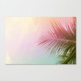 Pink Palm Leaf Poster Canvas Print
