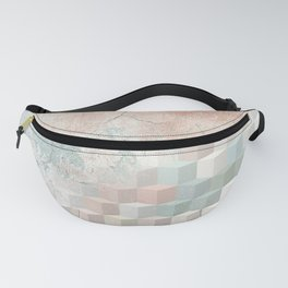 Distressed Cube Pattern - Nude, turquoise and seashell Fanny Pack