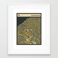 cleveland Framed Art Prints featuring CLEVELAND MAP by Jazzberry Blue