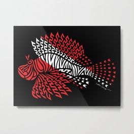Tribal Scuba Flag Lionfish Metal Print