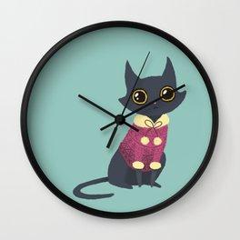 Cozy cat red Wall Clock