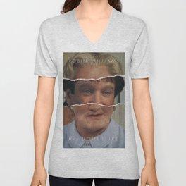 Mrs. Doubtfire, Robin Williams, movie poster, Pierce Brosnan, Chris Columbus, 90s film Unisex V-Neck