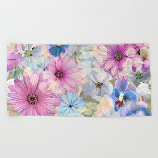 Pink and blue floral pattern Beach Towel
