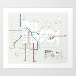 Future Minneapolis & St. Paul Transit Map  Art Print