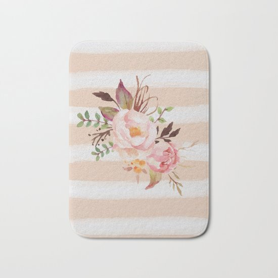 Roses and strips Bath Mat