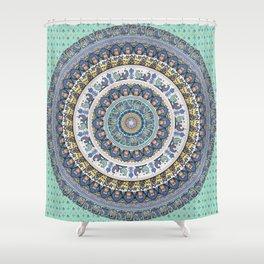 Frenchie Yoga Medallion Shower Curtain