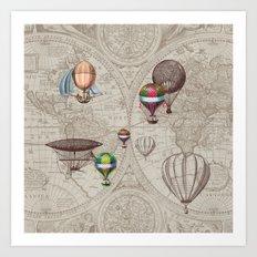 Balloon Festival Brown Art Print