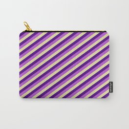 Pale Goldenrod, Indigo & Orchid Colored Pattern of Stripes Carry-All Pouch