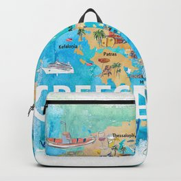Greece Illustrated Travel Map with Landmarks and Highlights Backpack