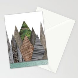 Textured Mountain Range in Minty Waters Stationery Cards