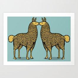 Kissing Llamas Art Print