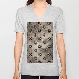 Pantone Hazelnut, Bold Circle Rings & Wavy Line Pattern Unisex V-Neck