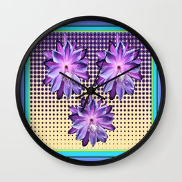Exotic Lilac-Purple-BlueTropical Flowers yellow Optic Art Wall Clock