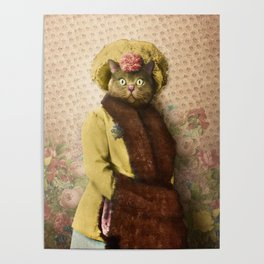 Lady Vanderkat with Roses Poster