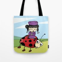 ladybug Tote Bags featuring Ladybug by flydesign