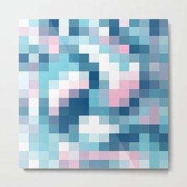 Mat Map Squares Aqua Metal Print