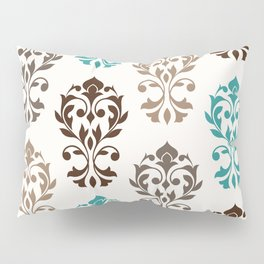 Heart Damask Art I Browns Teal Cream Pillow Sham