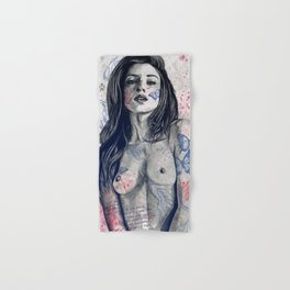 Nothing Violates This Nature: Blue (erotic drawing, nude butterfly girl) Hand & Bath Towel