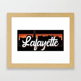 Vintage Lafayette Indiana Sunset Skyline T-Shirt Framed Art Print