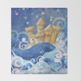 Sandcastle Waves Whales Throw Blanket