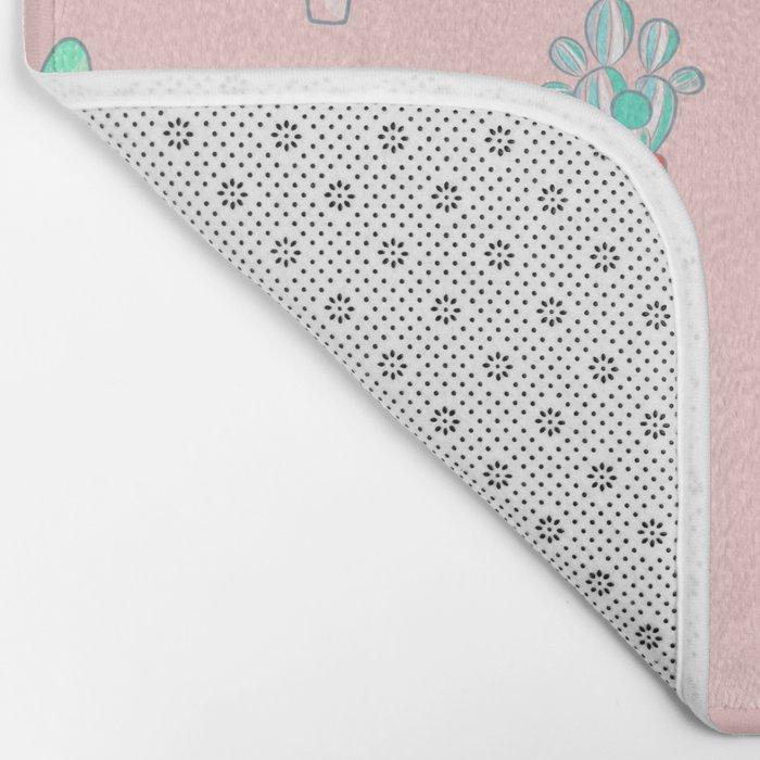 Little succulent pattern on pastel pink Bath Mat