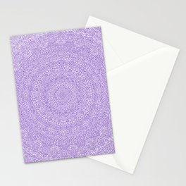 The Most Detailed Intricate Mandala (Violet Purple) Maze Zentangle Hand Drawn Popular Trending Stationery Cards
