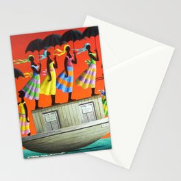 African American Masterpiece 'My Pink Bird Following Me' by O. Bulman Stationery Cards