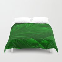 renaissance Duvet Covers featuring Renaissance Green by Charma Rose