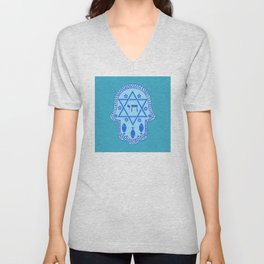 Hamsa for blessings, protection and strength - Turquoise Unisex V-Neck