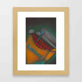 Lawrence, Kansas...A blue crayon in a red box Framed Art Print
