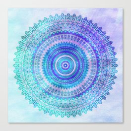 Blue Turquoise And Purple Watercolor Mandala Art Canvas Print