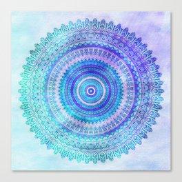 Blue Turquoise And Purple Watercolor Mandala Art Canvas Print