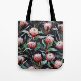 Evening Proteas - Pink on Charcoal Tote Bag