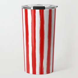 Red Painted Pin Stripe Pattern Travel Mug