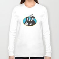 outdoor Long Sleeve T-shirts featuring cowboy and girl holding aerial outdoor antennae by retrovectors