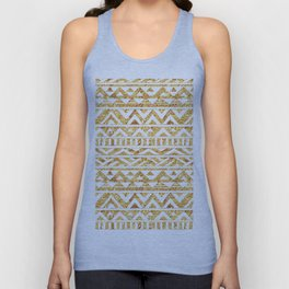Aztec Inspired Golden Pattern Unisex Tank Top
