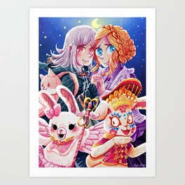 Bunnies on the Moon Art Print