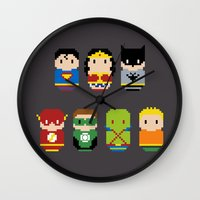 justice league Wall Clocks featuring Pixel Art - Justice League of America parody by Cloudsfactory