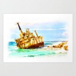 shipwreck aqrestd Art Print