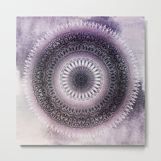 PURPLE WINTER LEAVES MANDALA Metal Print